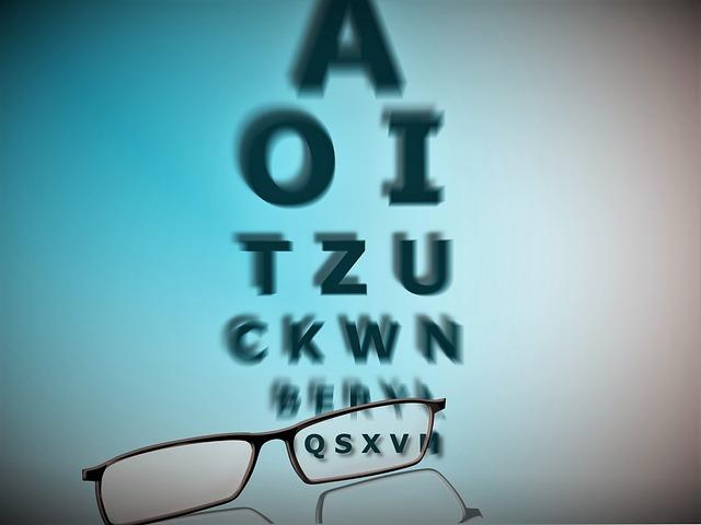 brýle a písmenka na oční kontrolu