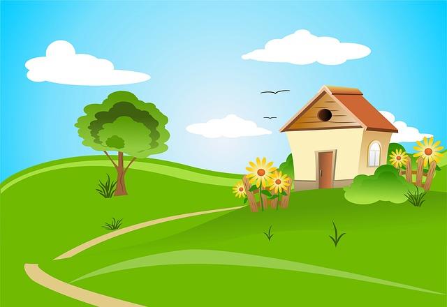 dům na venkově ilustrace
