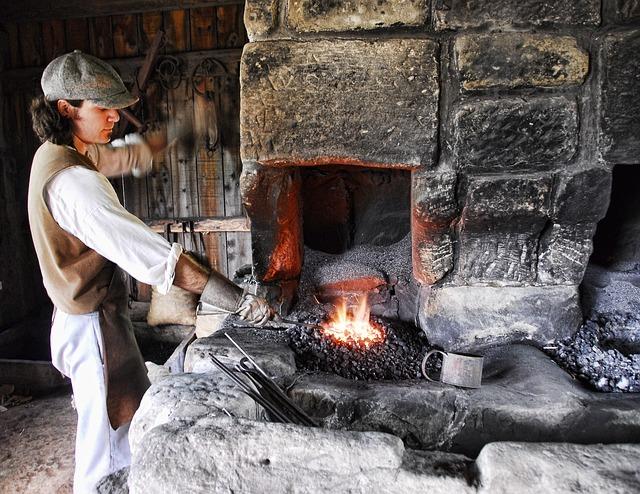 pracovník u pece