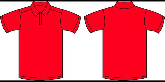 červená polokošile zepředu, zezadu