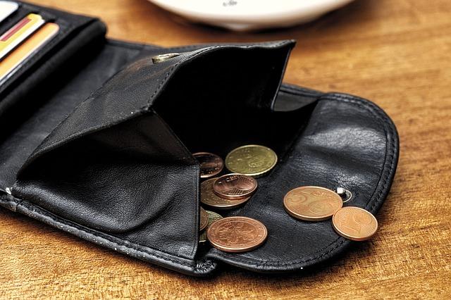 Otevřená peněženka s eury