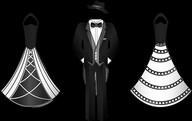 Černobílá kresba dámský a pánských společenských šatů.png
