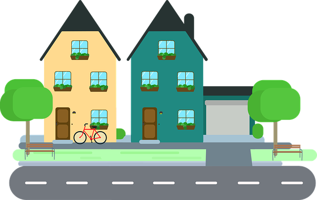 ilustrace, dva malé domy