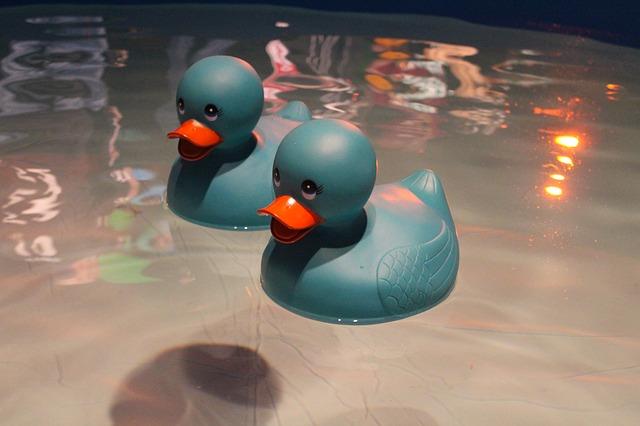 Dvě šedé plovoucí gumové kačenky ve vaně